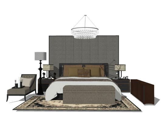 新中式臥室床具組合SU模型【ID:545260266】