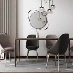 现代餐桌椅组合3D模型【ID:733732103】