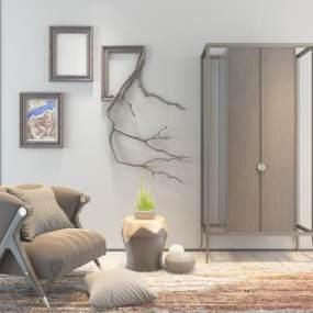 北欧简约单人沙发衣柜组合3D模型【ID:634912489】