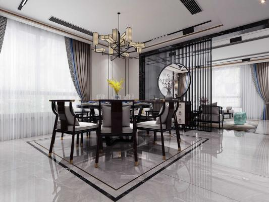 新中式客餐厅3D模型【ID:543733025】
