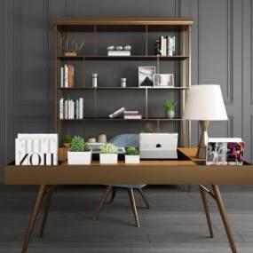 现代金属书桌椅书架书柜装饰柜架组合 3D模型【ID:940796097】