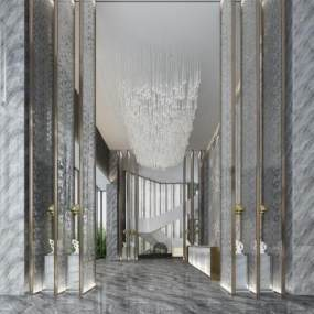 现代酒店大堂3D模型【ID:736066098】