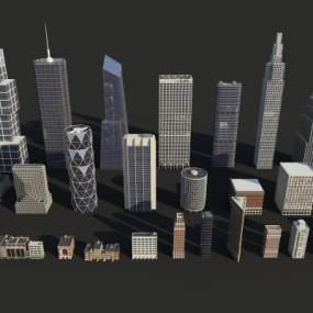 现代建筑群组合3D模型【ID:149143603】