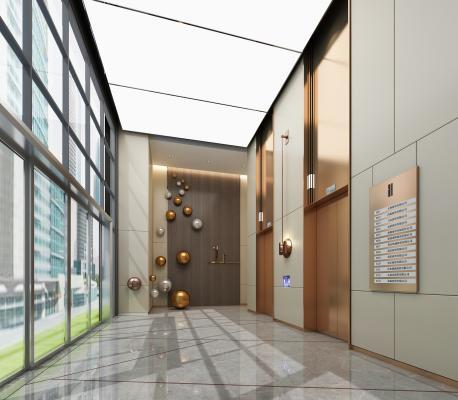 現代電梯廳3D模型【ID:953393523】