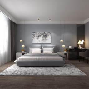 现代家居卧室3D模型【ID:535970258】