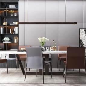 现代餐桌椅组合3D模型【ID:835780830】