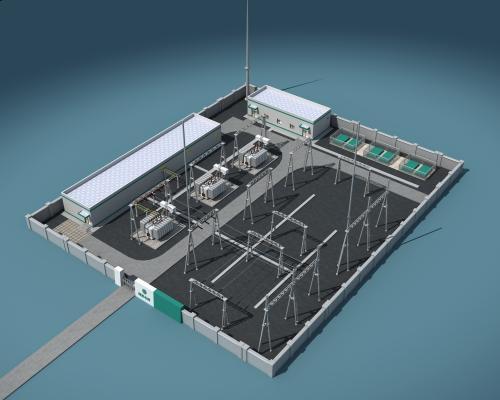 現代發電站鳥瞰圖3D模型【ID:247488009】