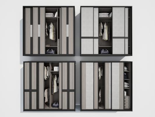 新中式衣柜3D模型【ID:145219450】