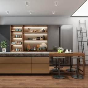 现代开放式厨房3D模型【ID:553010330】