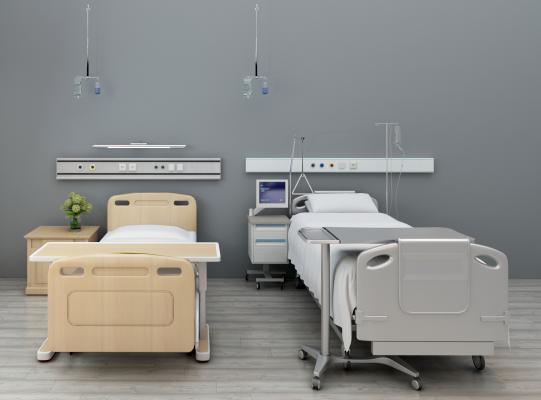 現代醫院病床醫用病床3D模型【ID:931815059】