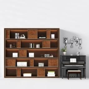 现代钢琴书柜书本摆件3D模型【ID:330566936】