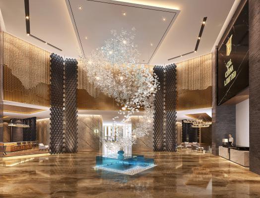 现代酒店奢华大堂3D模型【ID:741238055】