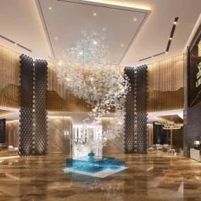 现代酒店奢华大堂 3D模型【ID:741238055】