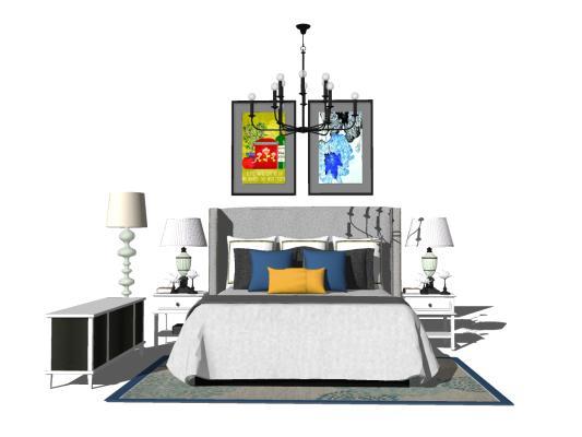 美式卧室床具组合SU模型【ID:545260255】