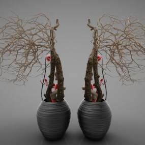 新中式風格植物3D模型【ID:246971869】