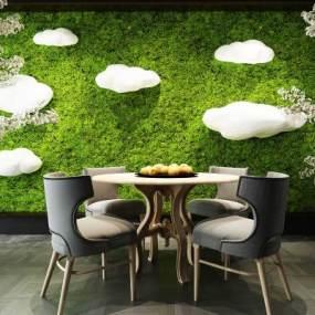 植物墙餐桌椅树木花卉白云灯3D模型【ID:730553144】