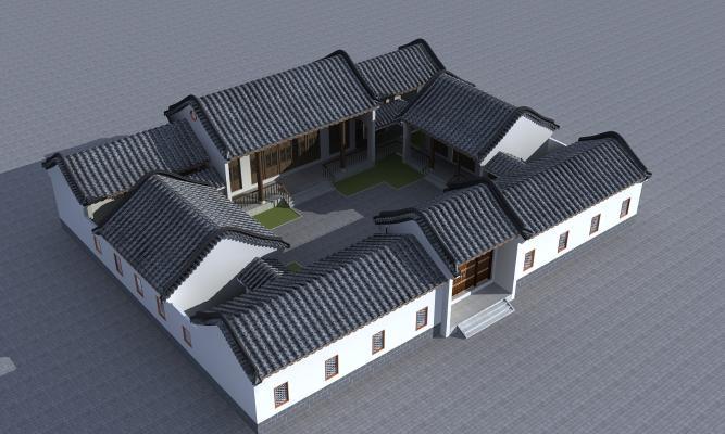 新中式古建四合院3D模型【ID:141852720】