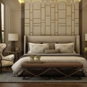 后現代簡約雙人床床具組合3D模型【ID:632882105】