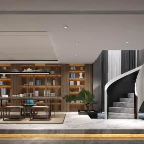 新中式茶室3D模型【ID:647275139】