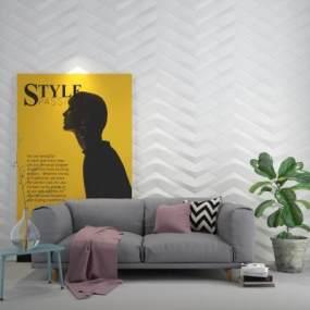 现代沙发茶几挂画绿植组合3D模型【ID:235303758】
