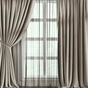 现代窗帘3D模型【ID:232923607】
