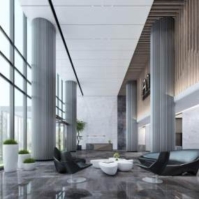 现代办公大厅3D模型【ID:933096263】