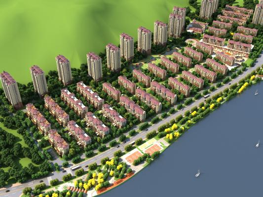 现代住宅区鸟瞰3D模型【ID:145350726】