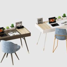 北欧书桌椅组合3D模型【ID:946344050】