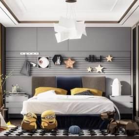 现代轻奢卧室3D模型【ID:554053241】