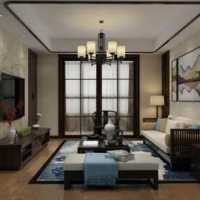 新中式客厅3D模型【ID:536050078】