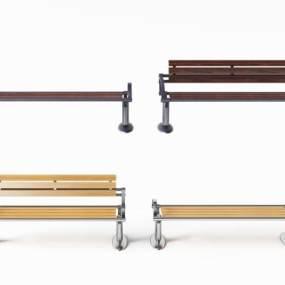 现代不锈钢木质公共排椅3D模型【ID:732103087】