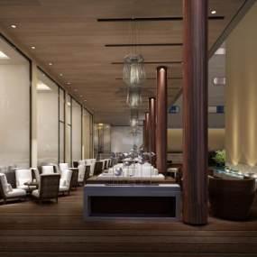 現代酒店戶外休閑咖啡廳3D模型【ID:647403329】