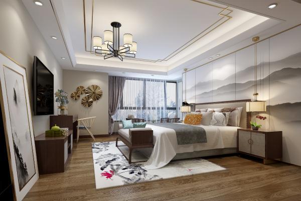 新中式臥室3D模型【ID:552451253】