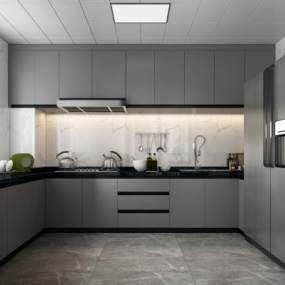 現代灰色系廚房3D模型【ID:547842322】