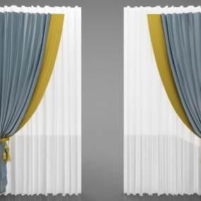 现代风格窗帘3D模型【ID:253477699】