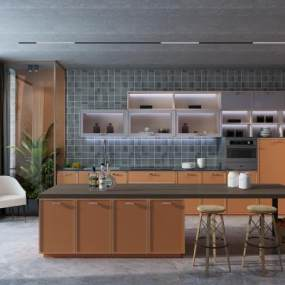 現代簡約廚房3D模型【ID:550605356】