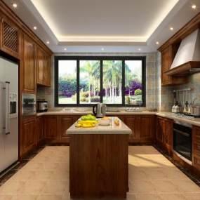 美式厨房3D模型【ID:531351302】
