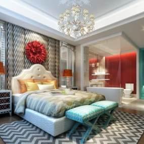 现代酒店式卧室 3D模型【ID:539373221】