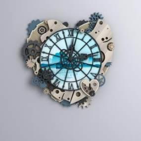 新古典心形復古齒輪鐘3D模型【ID:242956534】