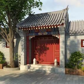 中式古建大门3D模型【ID:130870393】