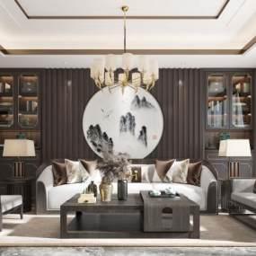 新中式客厅3D模型【ID:547710039】