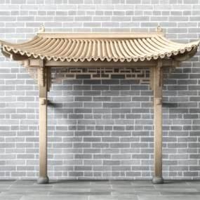 新中式古建门头屋檐3D模型【ID:335766153】