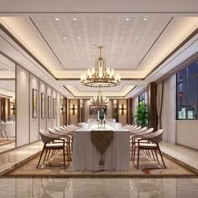 酒店包廂西餐廳3D模型【ID:643735806】