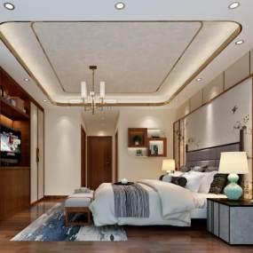 新中式奢华主卧室 3D模型【ID:541435210】