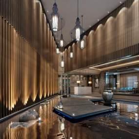 新中式酒店大堂3D模型【ID:743632026】