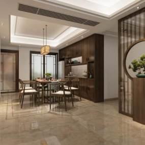新中式餐厅玄关3D模型【ID:533208166】