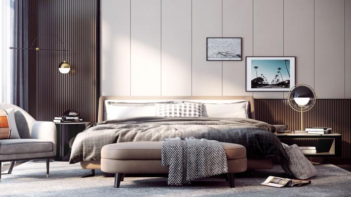 现代简约卧室3D模型【ID:845168745】