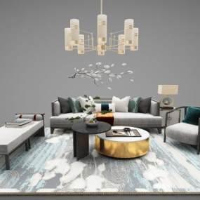新中式家具组合3D模型【ID:643528732】