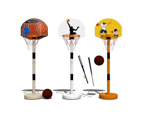 现代运动器材篮球架组合SU模型【ID:547991429】