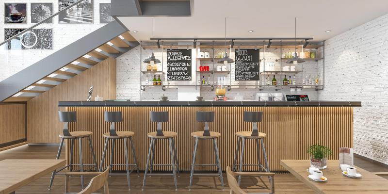 现代工业风咖啡厅3D模型【ID:650616330】
